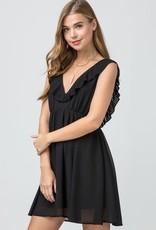 Black plunging neckline dress w/pleated ruffles