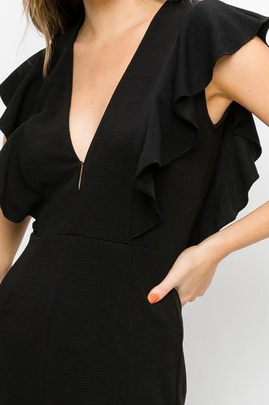 Black V neck flutter sleeve jumpsuit