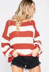 Ivory & rust striped sweater