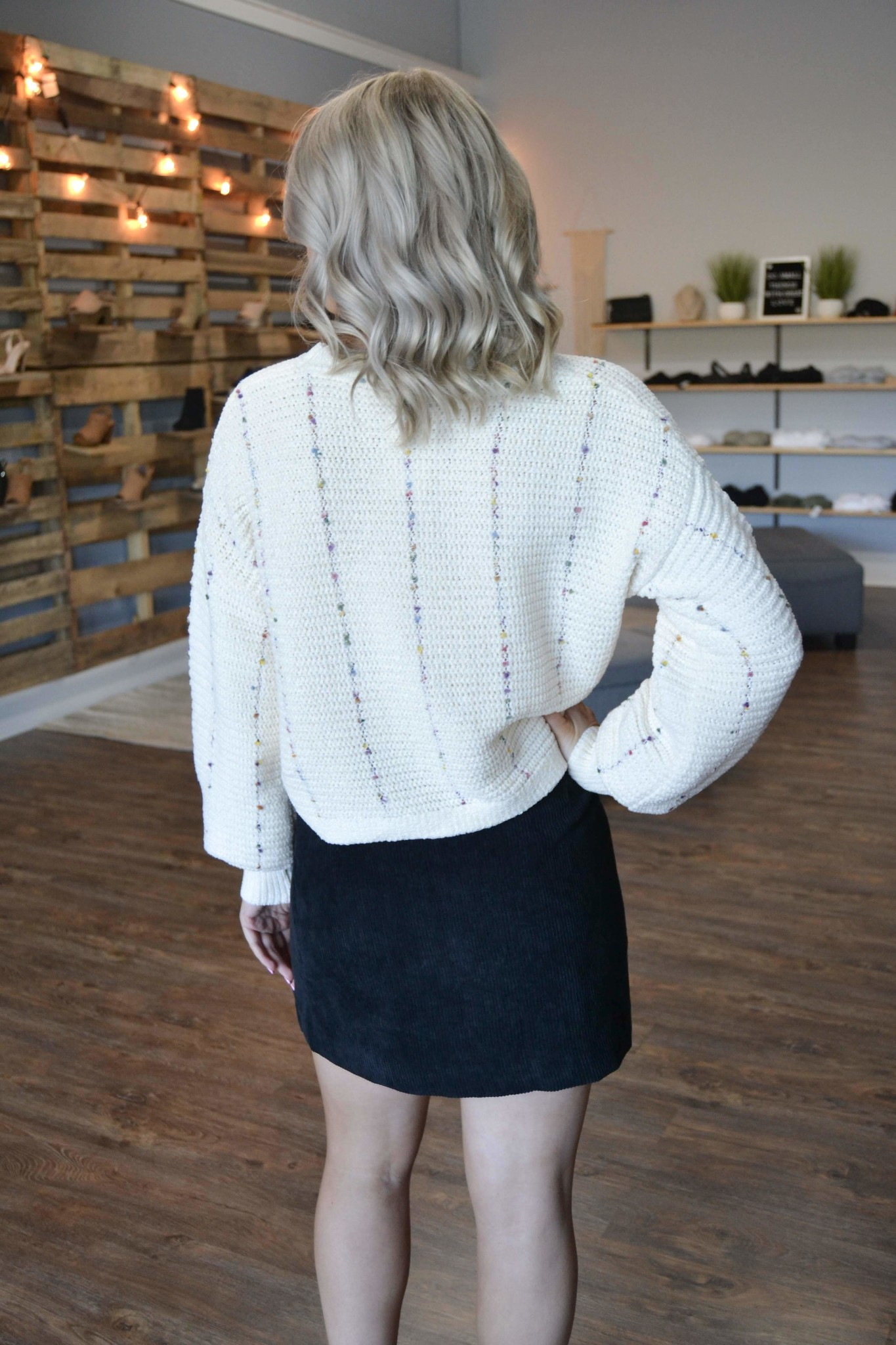 Cream confetti chenille sweater