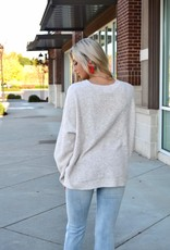 Oatmeal side button detail sweater
