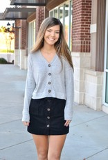 Ribbed corduroy button front skirt w/pockets