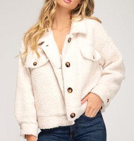 Ecru teddy bear button down jacket