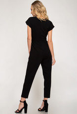 Black jumpsuit w/sash and pockets
