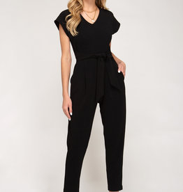 Black jumpsuit w/sash and pockets