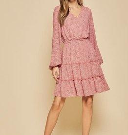Rust print fit & flare dress
