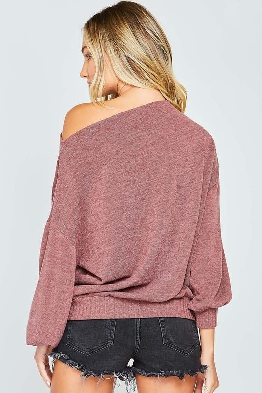 Burgundy LS top w/banded bottom