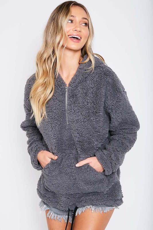 Half zip sherpa hoodie w/pocket
