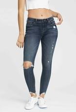 Dk wash distressed mid rise skinny jean