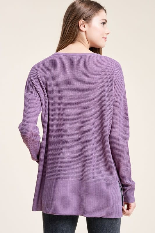 Orchid crew neck waffle textured sweater