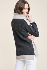 Oatmeal & charcoal turtle neck sweater