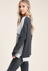 Charcoal & ivory color block sweater