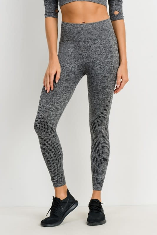 2 tone black dot textured leggings
