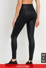 Black foil moto leggings