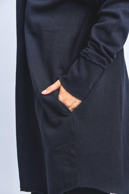 Black open front hoodie cardigan