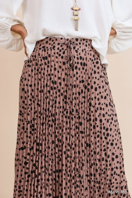 Mauve polka dot pleated maxi skirt