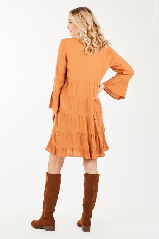 3/4 sleeve dress w/tiered skirt