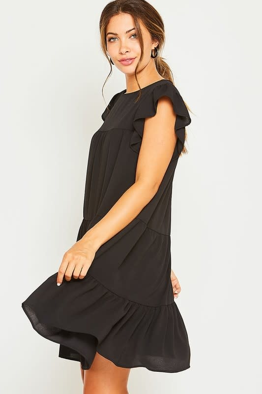 Black ruffle sleeve baby doll dress