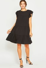 Black ruffle sleeve baby doll dress