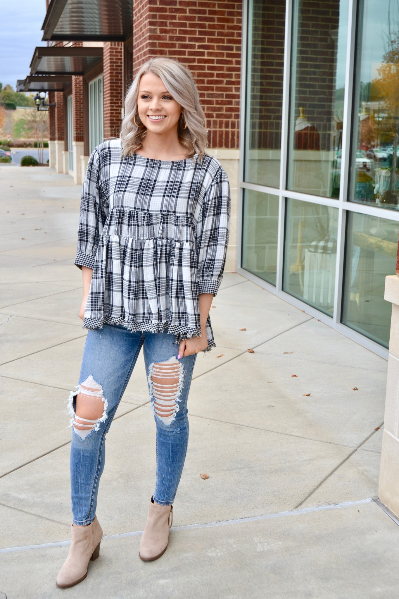 Plaid babydoll top