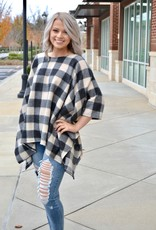 Taupe checkered poncho top