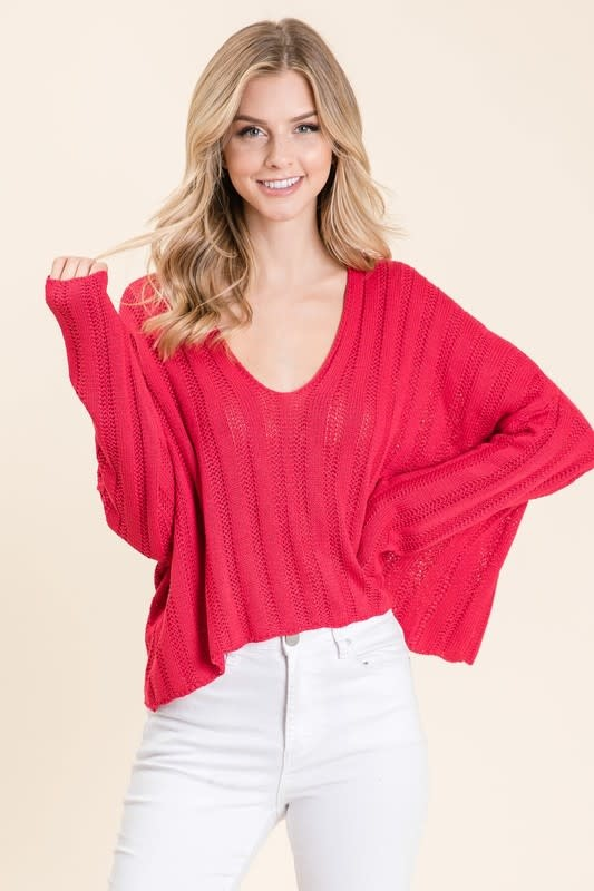 Magenta LS sweater
