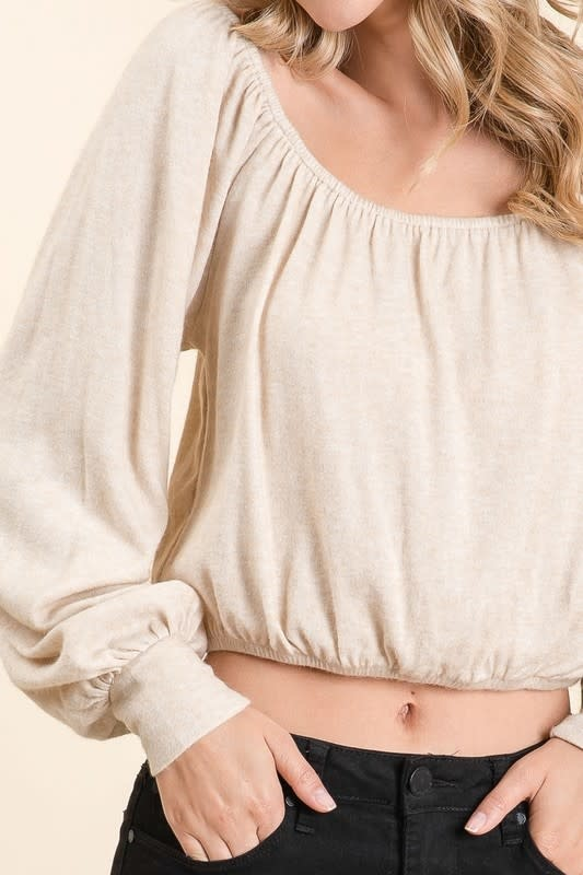 Oatmeal LS cropped peasant top