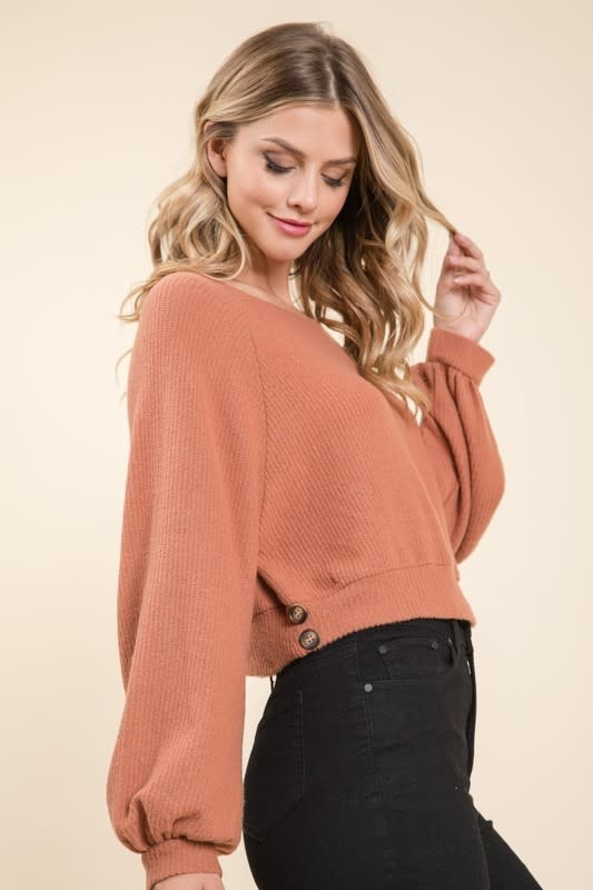 LS soft cropped top w/side buttons