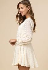 Dotted swiss drawstring dress