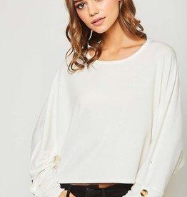 Off white LS top w/button trim