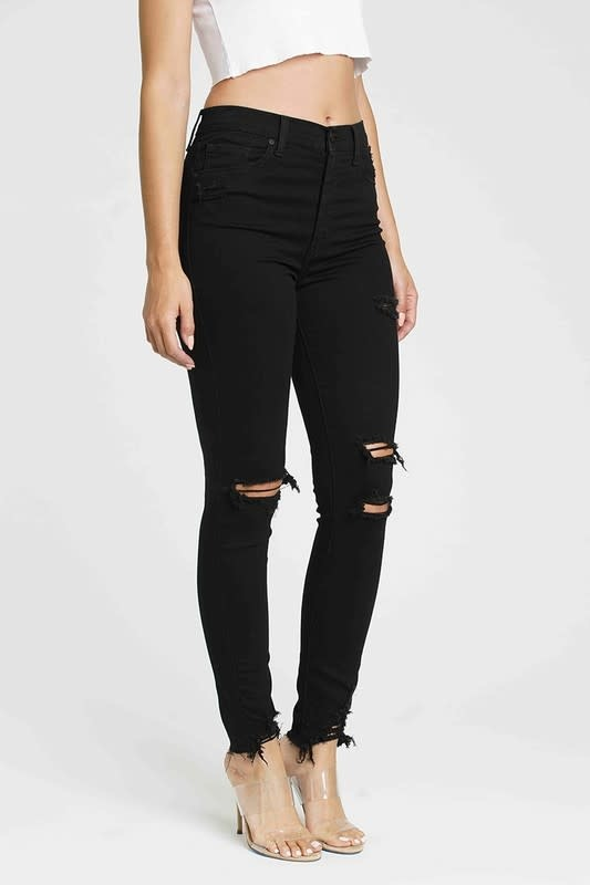 Black super high rise distressed jeans