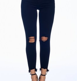 Black mid rise distressed crop jeans