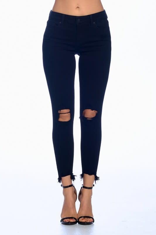 Black mid rise distressed crop jeans