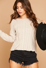 Taupe rib knit top w/twist back