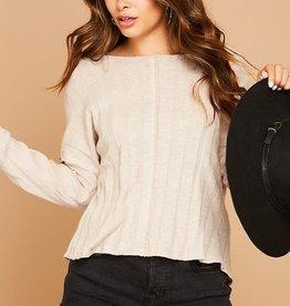 Taupe rib knit top w/twist back