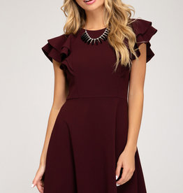 Wine flounce sleeve dress