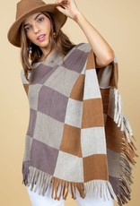 Taupe combo plaid poncho ONE SIZE