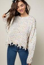 Confetti distressed sweater