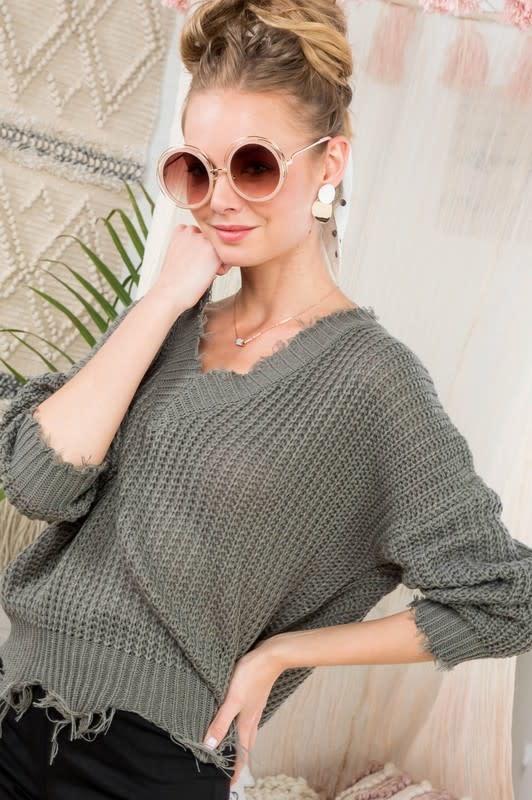 Sage V neck frayed sweater