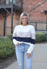 Ribbed color block sweater
