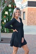 Black mixed fabric babydoll dress