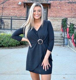 Black LS dress w/buckle trim
