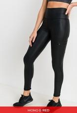 Side pocket highwaist foil leggings