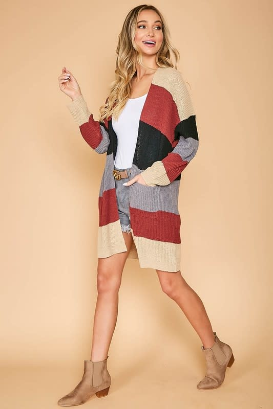 Multi color block cardigan