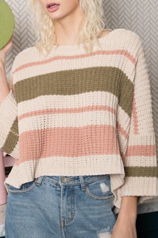 Almond multi stripe chenille sweater