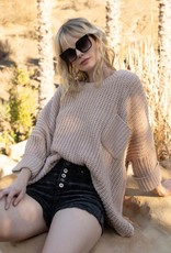 Oversized chenille front pocket sweater