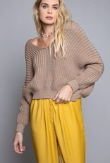 Chenille cable knit v neck sweater