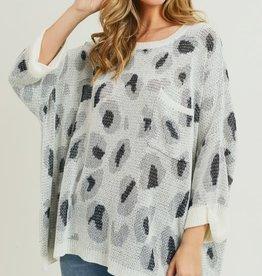 Oversized leopard print pullover