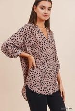 Mauve polka dot blouse