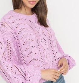 Open knit billow sleeve sweater